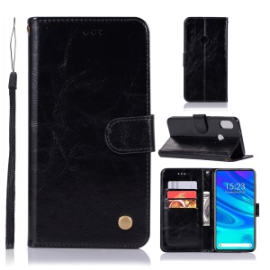 Vintage Leather Wallet Phone Cover for Huawei Honor 9X (Global)/ P Smart Z / Y9 Prime 2019 - Black