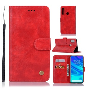 Vintage Leather Wallet Phone Cover for Huawei Honor 9X (Global)/ P Smart Z / Y9 Prime 2019 - Red