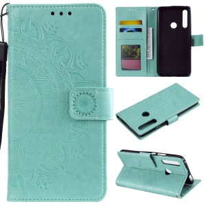 Imprint Flower Leather Wallet Case for Huawei Honor 9X (Global)/P Smart Z / Y9 Prime 2019/ Enjoy 10 Plus - Cyan