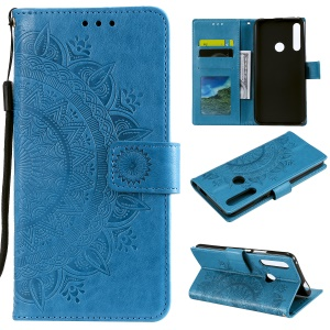 Imprint Flower Leather Wallet Case for Huawei Honor 9X (Global)/P Smart Z / Y9 Prime 2019/ Enjoy 10 Plus - Blue