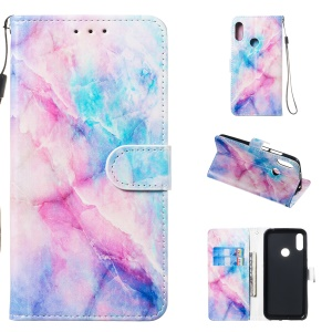 Pattern Printing Leather Wallet Stand Phone Case for Huawei Y6 (2019, with Fingerprint Sensor) / Y6 Prime (2019) - Style A