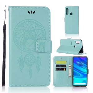 Imprinted Dream Catcher Owl Leather Wallet Phone Cover for Huawei Honor 9X (Global)/P Smart Z / Y9 Prime 2019/ Enjoy 10 Plus - Cyan