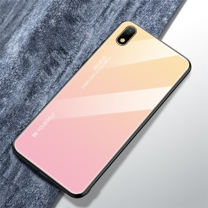 Gradient Color Glass + TPU Hybrid Case for Huawei Y5 (2019) / Huawei Honor 8S - Gold / Pink