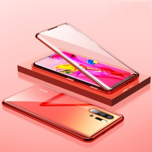 Magnetic Installation Metal Frame + Glass Alll-side Protective Cell Phone Case for Huawei P30 Pro - Red