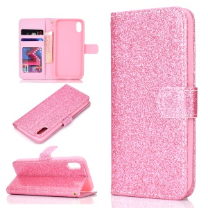 Shiny Powder Leather Wallet Phone Case for Huawei Honor 8S - Pink