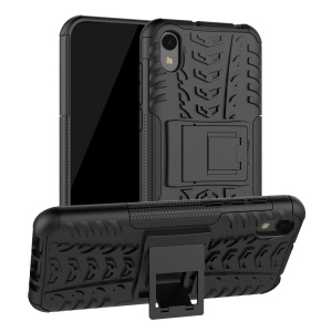 Anti-slip PC + TPU Hybrid Phone Cover with Kickstand for Huawei Y5 (2019) / Honor 8S - Black