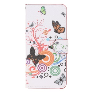 Cross Texture Pattern Printing Flip Leather Wallet Protective Case for Huawei Y6 (2019, with Fingerprint Sensor)/Y6 Prime (2019)/Y6 Pro (2019)/Honor 8A/Enjoy 9e - Butterflies and Circles