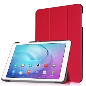 Tri-fold Stand Leather Tablet Shell for Huawei MediaPad T2 10.0 Pro - Red
