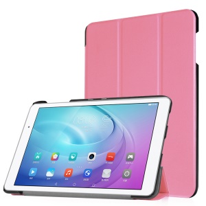 Tri-fold Stand PU Leather Flip Cover forHuawei MediaPad T2 10.0 Pro - Pink