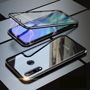 Magnetic Adsorption Metal Frame + Glass Back Full Protection Phone Case for Huawei Honor 20 Lite/Honor 20i - Black