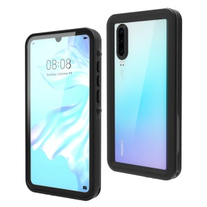 REDPEPPER IP68 Waterproof Cell Phone Case for Huawei P30 [Support Fingerprint Unlock] [Clear Back] - Black