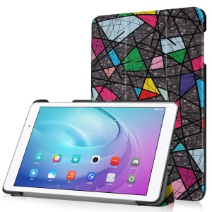 Tri-fold Stand Leather Case for Huawei MediaPad T2 10.0 Pro - Abstract Pattern