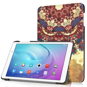 Tri-fold Stand Leather Case for Huawei MediaPad T2 10.0 Pro - Retro Flower