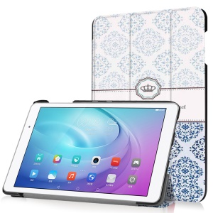 Tri-fold Stand Leather Case for Huawei MediaPad T2 10.0 Pro - Damask Flower