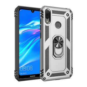 TPU+PC+Metal Hybrid Phone Shell with Kickstand for Huawei Y7 (2019) - Silver