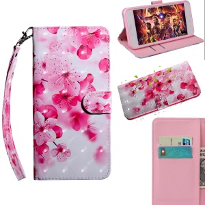 Pattern Printing [Light Spot Decor] Leather Wallet Casing for Huawei Honor 20 Pro - Peach Blossom