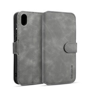 DG.MING Retro Style Leather Wallet Stand Case for Huawei Y5 (2019) - Grey
