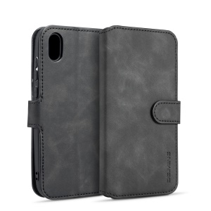 DG.MING Retro Style Leather Wallet Stand Case for Huawei Y5 (2019) - Black