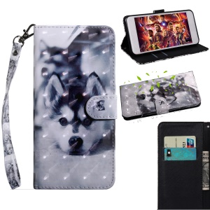 Pattern Printing Light Spot Decor Leather Wallet Phone Cover for Huawei Honor 20 Lite - Black and White Wolf