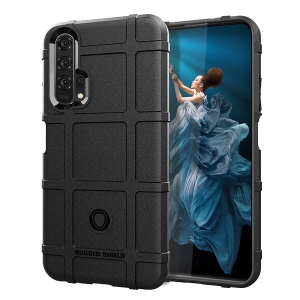 Shock Resistant Rugged Square Grid Texture TPU Phone Casing for Huawei Honor 20 Pro - Black