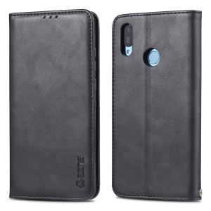 AZNS Retro Style PU Leather Card Holder Case for Huawei Y6 (2019, with Fingerprint Sensor) / Y6 Prime (2019) - Black