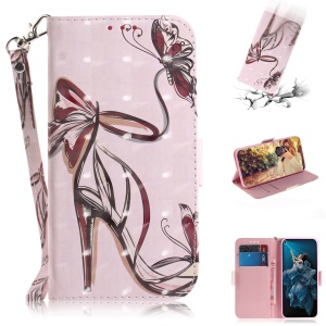 Pattern Printing Light Spot Decor Leather Wallet Phone Cover with Strap for Huawei Honor 20 Pro - High Heels