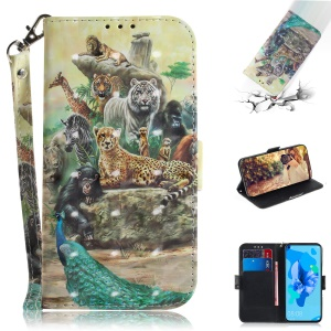 Pattern Printing Light Spot Decor Wallet Stand Leather Case with Strap for Huawei P20 lite (2019) - Animal Kingdom
