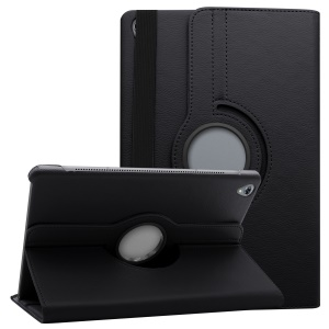Litchi Grain Leather Protection Case with 360 Degree Swivel Stand for Huawei MediaPad M6 10.8-inch - Black