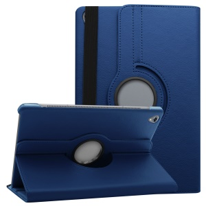 Litchi Grain Leather Protection Case with 360 Degree Swivel Stand for Huawei MediaPad M6 10.8-inch - Dark Blue