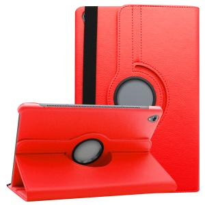 Litchi Grain Leather Protection Case with 360 Degree Swivel Stand for Huawei MediaPad M6 10.8-inch - Red