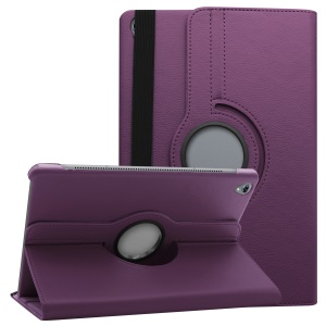 Litchi Grain Leather Protection Case with 360 Degree Swivel Stand for Huawei MediaPad M6 10.8-inch - Purple