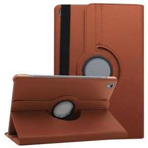 Litchi Grain Leather Protection Case with 360 Degree Swivel Stand for Huawei MediaPad M6 10.8-inch - Brown