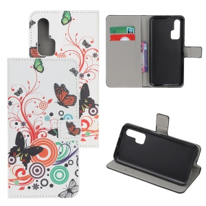Pattern Printing Flip Leather Wallet Stand Case for Huawei Honor 20 Pro - Butterflies and Circles