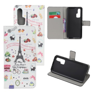 Pattern Printing Flip Leather Wallet Stand Case for Huawei Honor 20 Pro - Paris Eiffel Tower