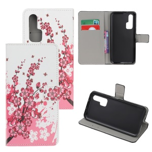 Pattern Printing Flip Leather Wallet Stand Case for Huawei Honor 20 Pro - Plum Blossom