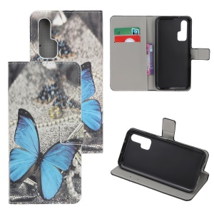 Pattern Printing Flip Leather Wallet Stand Case for Huawei Honor 20 Pro - Blue Butterflies