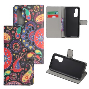 Pattern Printing Flip Leather Wallet Stand Case for Huawei Honor 20 Pro - Colorful Flowers