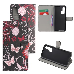 Pattern Printing Flip Leather Wallet Stand Case for Huawei Honor 20 Pro - Flowers and Butterflies