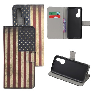 Pattern Printing Flip Leather Wallet Stand Case for Huawei Honor 20 Pro - American Flags