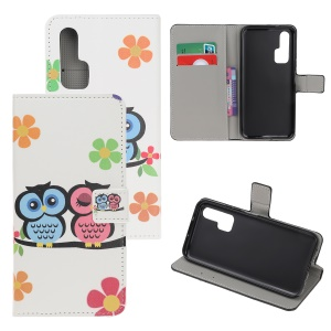 Pattern Printing Flip Leather Wallet Stand Case for Huawei Honor 20 Pro - Couple Owls