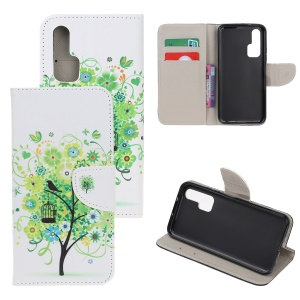 Pattern Printing Cross Texture Leather Wallet Case for Huawei Honor 20 Pro - Green Tree