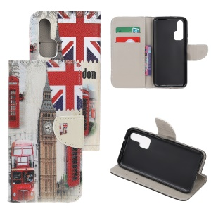 Pattern Printing Cross Texture Leather Wallet Case for Huawei Honor 20 Pro - Big Ben and UK Flag