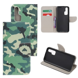Pattern Printing Cross Texture Leather Wallet Case for Huawei Honor 20 Pro - Camouflage Pattern