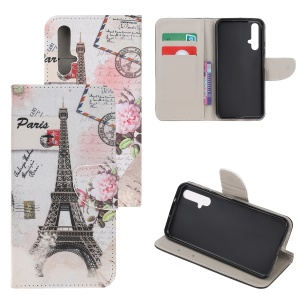 Cross Texture Pattern Printing Flip Leather Wallet Stand Phone Cover for Huawei Honor 20/Honor 20s - Paris Eiffel Tower