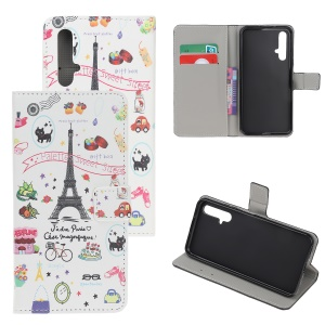 Pattern Printing Leather Wallet Stand Case for Huawei Honor 20S / Honor 20 / nova 5T - Eiffel Tower