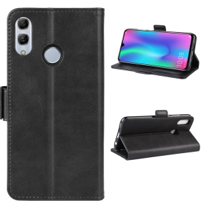 Magnetic Double Clasp Leather Wallet Stand Case for Huawei Honor 10 Lite - Black