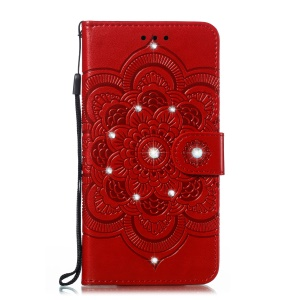 Diamond Rhinestone Decoration Imprint Mandala Flower Leather Phone Cover for Huawei Honor 9X (Global)/P Smart Z / Y9 Prime 2019/ Enjoy 10 Plus - Red