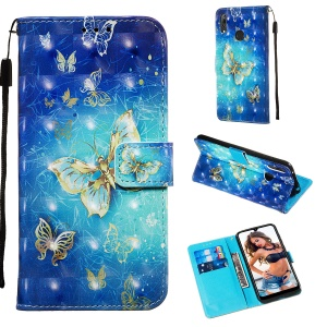 3D Painting Style Leather Phone Shell for Huawei Y7 (2019) / Y7 Prime (2019) / Enjoy 9 / Y7 Pro (2019) - Blue Shiny Butterflies