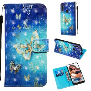 3D Painting Style Leather Phone Shell with Card Wallet Slots for Huawei Honor 9X (Global)/P Smart Z / Y9 Prime 2019/ Enjoy 10 Plus - Blue Shiny Butterflies