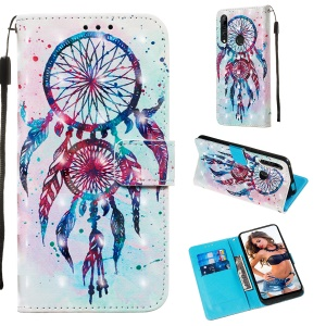 3D Painting Style Leather Phone Shell with Card Wallet Slots for Huawei Honor 9X (Global)/P Smart Z / Y9 Prime 2019/ Enjoy 10 Plus - Painting Dream Catcher